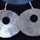 C Lee Hammered Silver Round Earrings